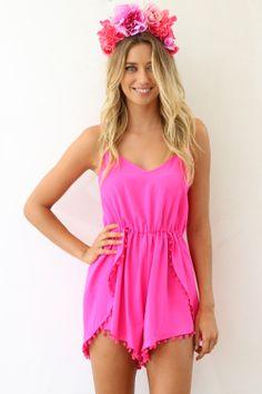 SABO SKIRT Pink Pom Playsuit  www.saboskirt.com