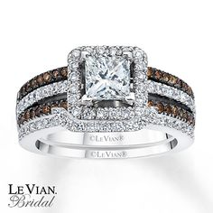 Im gunna start begging now!! #Anniversarygift!?! #inLoveWtheChocolate LeVian Chocolate Diamonds,vanilla gold 1 5/8 ct tw Bridal Set 14K Gold $8,899
