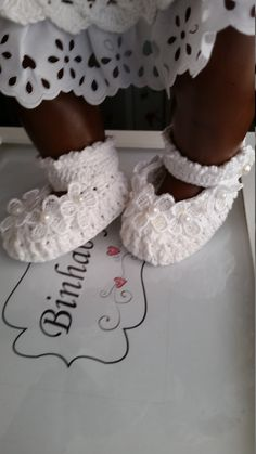 Christening booties with sash