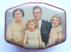 Vintage 1940s Toffee Tin, with lid decoratedwith picture of King George V & Family http://www.iconicgrassmarket.co.uk/vintagetins.html