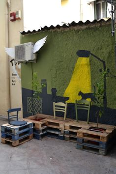 DIY pallet public bench / Placemaking at Perikleous Str. / from derelict void space to functional public Place / athens, greece by Atenistas