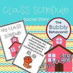 Here is a social story for class schedules and routines. Names and schedule are editable. Must have Microsoft Powerpoint to edit. Social stories are perfect to use in the classroom to help children with autism and other developmental disabilities understand their
