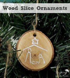 Wood Slice OrnamentTutorial  by Crafting in the Rain