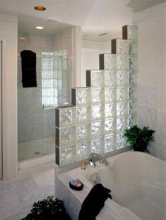 Amazing Glass Brick Shower Division Design Ideas - Page 5 of 41 - Farhah Decor Brick Bathroom, Small Bathroom, Bathroom Showers, Bathroom Canvas, Bad Inspiration, Bathroom Inspiration, Glass Blocks Wall, Block Wall, Glass Block Shower