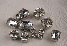 mix lot 12pcs crystal sew on clear by MissVirgocraftsupply on Etsy, $2.99