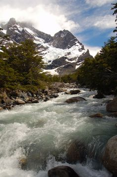 Rio del Frances at the beginning of the Valle del Frances, with Cerro Paine Grande ahead