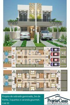 2 Storey House Design, Duplex House Design, Townhouse Designs, House Front Design, Modern House Design, Duplex House Plans, Modern House Plans, House Layout Plans, House Layouts