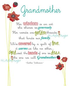 "A ""Grandmother"" Poem, found on etsy from H.L.R. Designs"