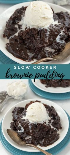 This Slow Cooker Brownie Pudding is so chocolatey and rich! It& easy to make with just a few ingredients you probably already have in your pantry! Brownie Pudding, Chocolate Pudding Cake, Pudding Desserts, Köstliche Desserts, Pudding Recipes, Brownie Recipes, Chocolate Desserts, Cake Recipes, Brownie Mix Desserts