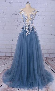 Tulle Prom Dress,Cheap Prom Dress,Unique Prom Dresses,Princess Prom Dress,Appliqued Prom Dresses,Tulle Evening Dress,Long Prom Dress, Formal Evening Dress