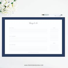 Navy things to do desk pad by Printed Ink