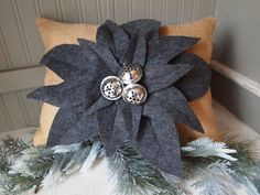Natural Burlap Christmas pillow poinsettia by TheBurlapCottage, $45.00
