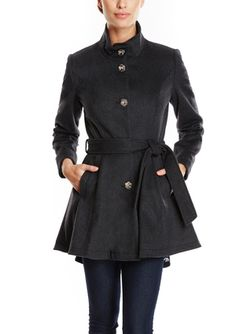 On ideel: BETSEY JOHNSON Wool Belted Fit-and-Flare Coat