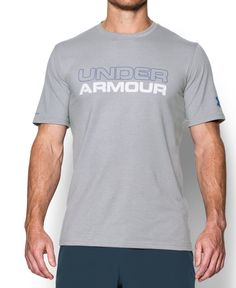 77adfd943 Under Armour Men's Wordmark T-Shirt, True Gray Heather/White, XXX-Large:  Charged Cotton has the comfort of cotton, but dries much faster. stretch ...