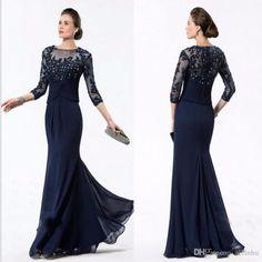 2019 Gray Muslim Evening Dresses Mermaid 3/4 Sleeves Lace Beaded Slit Islamic Dubai Kaftan Saudi Arabic Long Evening Gown Without Return Weddings & Events
