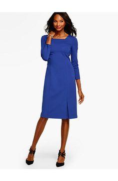 Ponte Square-Neck Sheath Dress  - Talbots