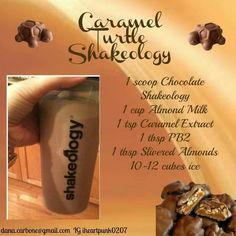 Caramel Turtle Shakeology Protein Breakfast Shake - So delicious for breakfast and packed with protein! Who doesn't love dessert for breakfast! 310 Shake Recipes, Herbalife Shake Recipes, Protein Shake Recipes, Protein Shakes, Shakeology Shakes, Beachbody Shakeology, 21 Day Fix Recipies, Smoothie Drinks, Protein Smoothies