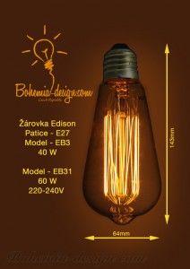 Bulb Edison 40W/240V socket E27 (vintage) model Eb3