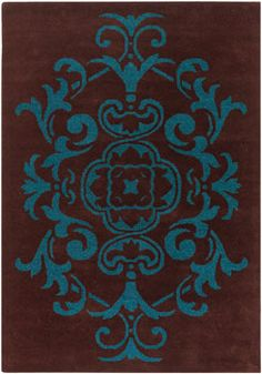 Absolutely GORGEOUS Brown U0026 Teal Damask Area Rug...PERFECT For Our Dining  Room