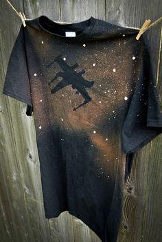 Star Wars X-Wing silhouette handmade bleached by CustomBleachTees