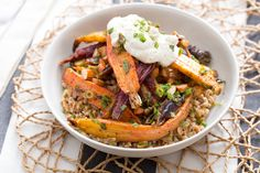 Heirloom Carrot & Toasted Farro Salad with Labneh Cheese & Pickled Dates. Visit https://www.blueapron.com/ to receive the ingredients.