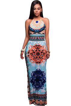 Light Blue African Pattern Low Back Halter Maxi Dress