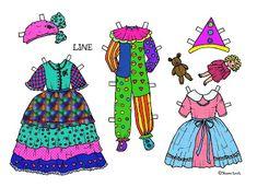 Karen`s Paper Dolls: Line 1-3 Paper Doll in Colours. Line 1-3 påklædningsdukke i farver.
