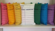 Pillows that look like library check-out cards.