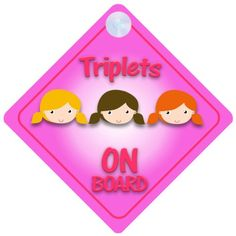 Triplet Girls On Board Car Sign New Baby  Child Gift  Present  Baby Shower Surprise >>> You can get additional details at the image link.