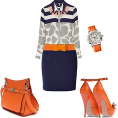 """Pops of Orange"" by ashli2012 on Polyvore"