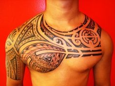 Tribal chest tattoos for men - Chest is a large area canvas which can get any large tribal tattoo designs