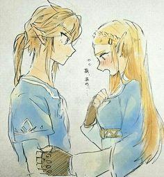 Zelda and Link The Legend Of Zelda, Legend Of Zelda Breath, Zelda Video Games, Botw Zelda, Link Zelda, Couple Drawings, Twilight Princess, Breath Of The Wild, Video Game Art