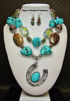 COWGIRL WESTERN NECKLACE Set / Howlite by CayaCowgirlCreations