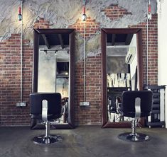Exposed brick, industrial barbershops.