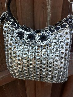 Upcycled Aluminum Soda Pop Can Tab Messenger Handbag Made To Order Large Size. $185.00, via Etsy.