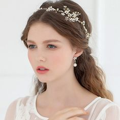 Boho Bridal Halo headpiece Rhinestone Wedding by KissDesignHouse Wedding Hair And Makeup, Wedding Beauty, Bridal Makeup, Bridal Hair, Bride Accessories, Wedding Hair Accessories, Crown Hairstyles, Bride Hairstyles, Braut Make-up