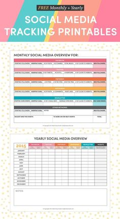 FREE Monthly and Yearly Social Media Tracking Printables to make your social media matter in 2015 / Half Asleep Studio