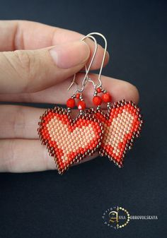 Hobby World ( бисероплетение ) Seed Bead Jewelry, Seed Bead Earrings, Beaded Earrings, Earrings Handmade, Beaded Jewelry, Handmade Jewelry, Heart Earrings, Seed Beads, Seed Bead Patterns