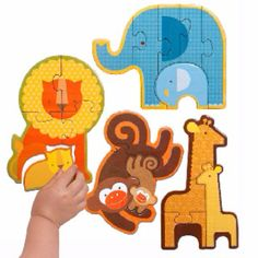 This Safari Babies Puzzle - Set of Four by Petit Collage is perfect! Floor Puzzle, Animal Puzzle, Busy Boxes, Collage, Children's Boutique, Safari Animals, Puzzle Pieces, Your Child, Toddler Girl