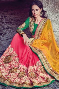 Yellow Pink and Green Embroidered Party Wear Saree