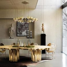 See these luxury dining tables design ideas for your dining room. Fortuna Dining Table by Boca do Lobo - The Fortuna Dining Table is a shimmering statement piece that unites Boca do Lobo's one of a ki Luxury Dining Tables, Luxury Dining Room, Dining Table Design, Modern Dining Table, Dining Decor, Elegant Dining, Dinning Table, Kitchen Decor, Best Interior Design
