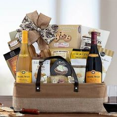 Wine Gift Baskets - Red and White Wine Gift Basket White Wine, Red Wine, Wine Gift Baskets, Wine Gifts, Wines, Red And White, Treats, Snacks, How To Make