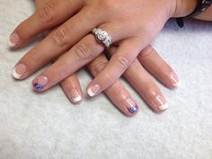 French with flag tip on accent nails  Oasis Salon and Spa Mill Hall Pa (570)726-6565