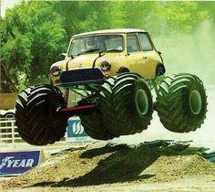 Mini-Monster. Mini-Cooper catching some air.