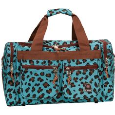 Complement your fierce luggage collection with this leopard-print carry-on tote bag. This stylish fabric bag will turn heads anywhere your travels take you. The travel bag features heavy-duty 600 denier polyester construction and four pockets.