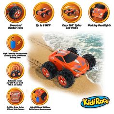 """KidiRace Amphibious Remote Control Car ‒ Orange ‒ 360 Degree Spin Aqua Stunt RC Car - """"#TOYS# KIDS  #Crafts #Candy - #OriginalFunGifts """"#dolls #gifts #cars #fun #office #collectables #laserguntaggames #Arts #girls #brands#save4save #games #birthday #party #music #boys #toddlers #baby #ChristmasHomeDecor #presents #$1PRODUCTS #homedecorations #outdoors #birthdaygreetingcards """""""