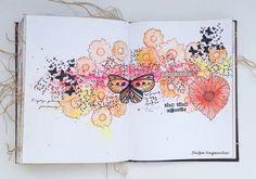 Butterfly Journal Page - Papillons Journal d'art (Le style Magenta) Album Journal, Scrapbook Journal, Art Journal Pages, Journal Ideas, Art Journals, Mix Media, Creative Journal, Creative Art, Art Papillon