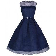 'Aleena' Navy Blue Polka Dot Prom / Bridesmaid Dress