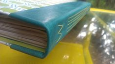 Hand made book  Lime and Teal print with by BookBindingBirdy, $50.00