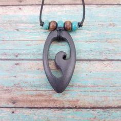 Wave Necklace beach rock jewelry surfer necklace beach wave jewelry hand carved wearable art tribal surfer jewelry ocean jewelry minimalist